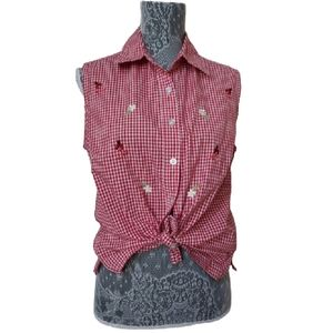 Southern Lady red gingham lady bug daisy top